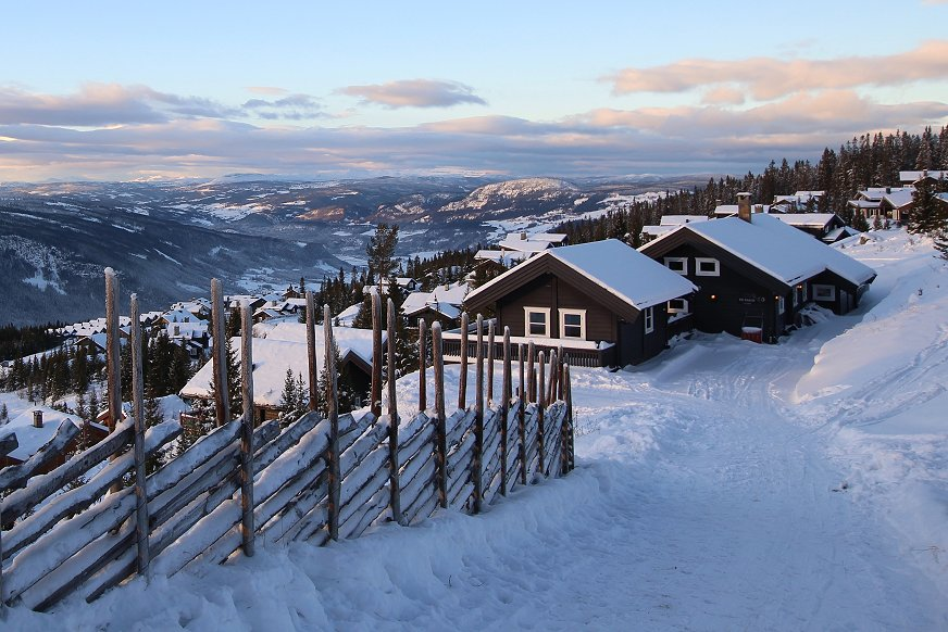 Hyttegrend i vinterlandskap