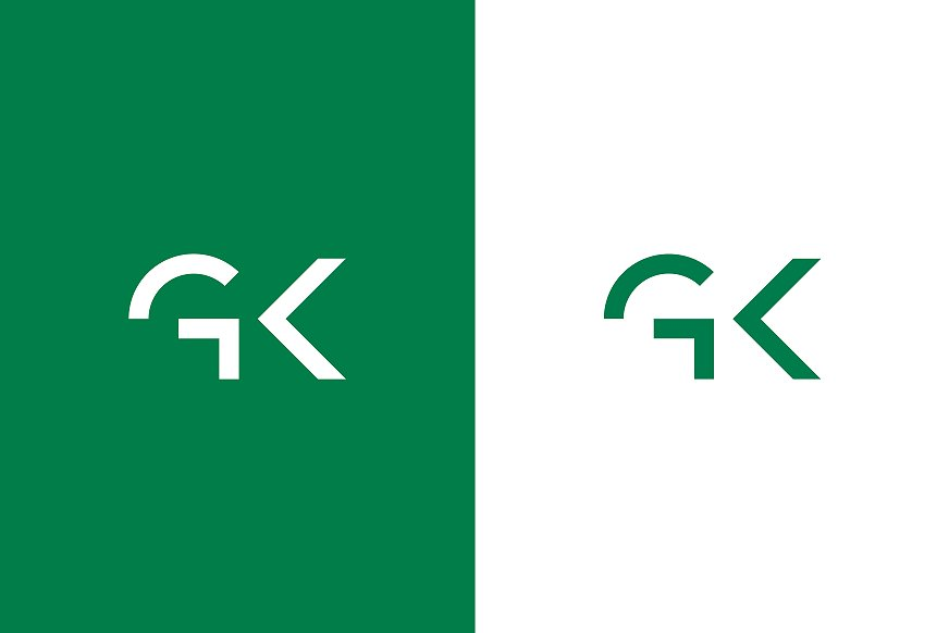 GKs logo i hvit og grønn